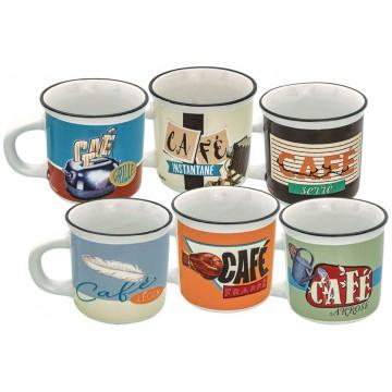 6 tasses à café façon émail Le CAFÉ dans TOUS SES ÉTATS Natives déco rétro vintage