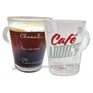 Mug en verre CAFÉ ADDICT Natives déco rétro vintage