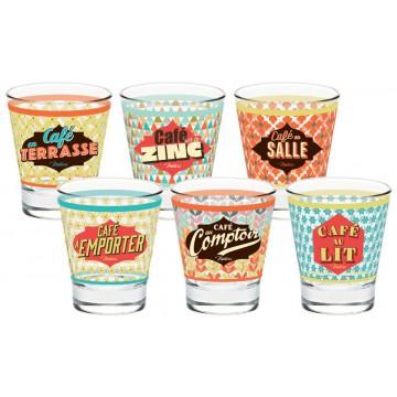 6 tasses à café en verre EN TOUS LIEUX Natives déco rétro vintage