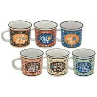 6 tasses à café céramique façon émail FOLKLO Natives déco rétro vintage