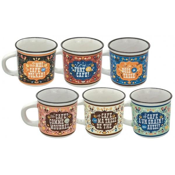 6 tasses caf c ramique fa on mail folklo natives d co r tro vintage provence ar mes. Black Bedroom Furniture Sets. Home Design Ideas