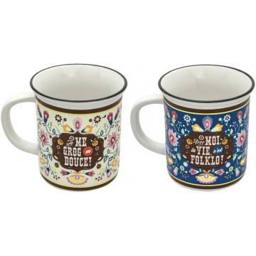 2 mugs façon émail FOLKLO Natives déco rétro vintage