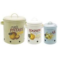 3 Boîtes émaillées pour la conservation pomme de terre, oignon et ail Natives déco rétro vintage