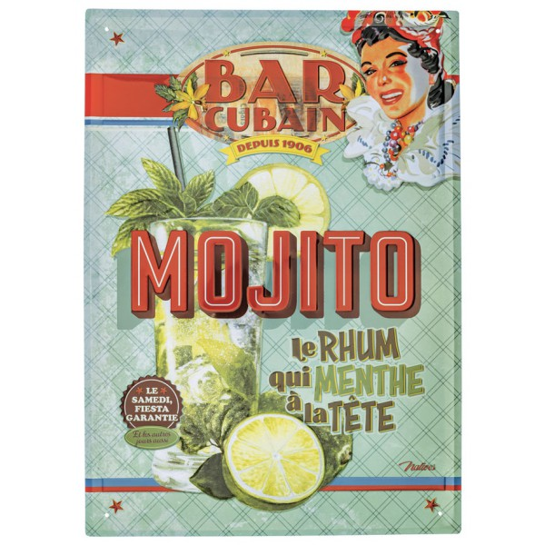Grande plaque m tal mojito natives d co r tro vintage for Plaque deco cuisine retro