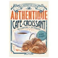 Grande Plaque métal CAFÉ-CROISSANT Natives déco rétro vintage