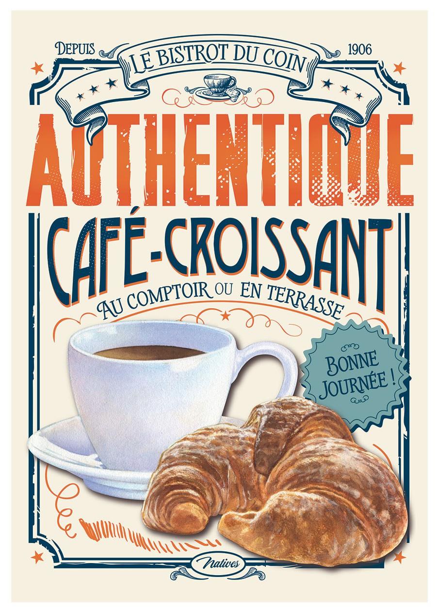 Grande Plaque métal CAFÉ-CROISSANT Natives déco rétro vintage - Provence  Arômes Tendance sud
