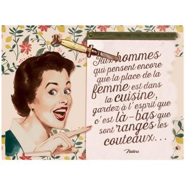 Plaque métal LA PLACE DE LA FEMME Natives déco rétro vintage
