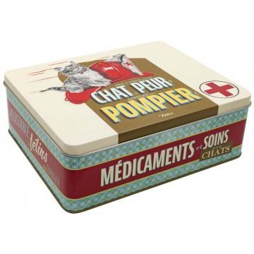 Boîte à médicaments CHAT PEUR POMPIER Natives déco rétro vintage