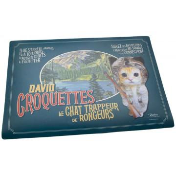 Tapis pour gamelle CHAT DAVID CROQUETTES Natives déco rétro vintage humoristique