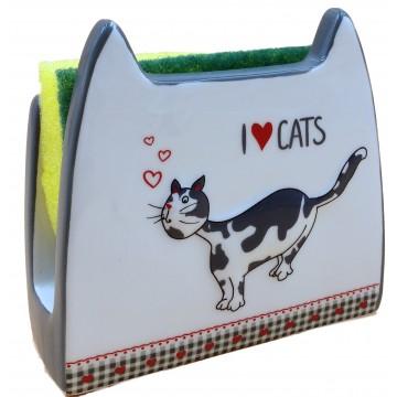 Porte-éponge J'AIME LES CHATS collection Love cats