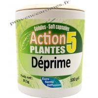 DÉPRIME Action 5 Plantes 100 gélules végétales Phytofrance Euro Santé Diffusion