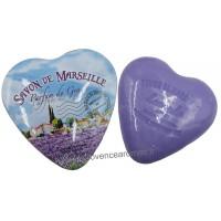 Boîte en forme de cœur déco Champ de Lavande et son savon lavande