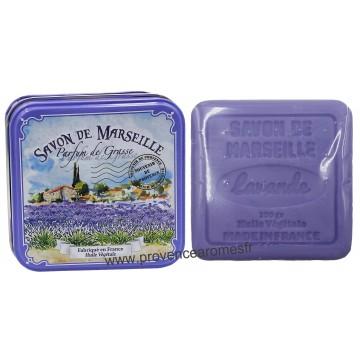Boîte carrée déco Champ de Lavande et son savon lavande