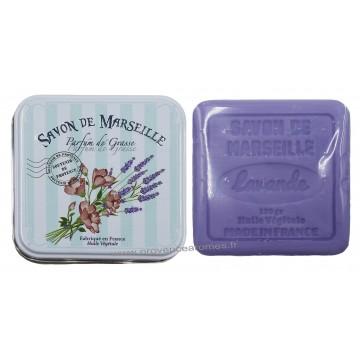 Boîte carrée déco Bouquet de Lavande et son savon lavande
