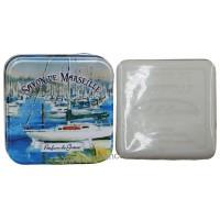 Boîte carrée déco Voilier au port et son savon au Lait d'ânesse