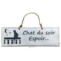 """Plaque en bois """"Chat du soir espoir..."""" déco Chat sur fond blanc"""