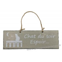 """Plaque en bois """"Chat du soir espoir..."""" déco Chat sur fond beige clair"""