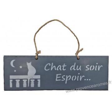 """Plaque en bois """"Chat du soir espoir..."""" déco Chat sur fond Anthracite"""