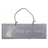 """Plaque en bois """"Fais un vœu """" déco Chat sur fond gris clair"""