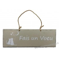 """Plaque en bois """"Fais un vœu """" déco Chat sur fond beige clair"""