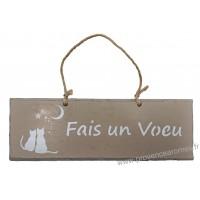 """Plaque en bois """"Fais un vœu """" déco Chat sur fond taupe"""
