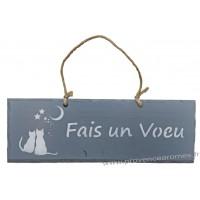 """Plaque en bois """"Fais un vœu """" déco Chat sur fond anthracite"""