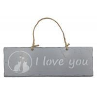 """Plaque en bois """" I Love You """" déco Chat sur fond gris clair"""
