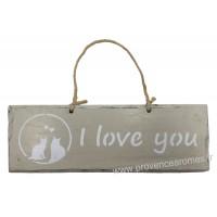 """Plaque en bois """" I Love You """" déco Chat sur fond beige clair"""