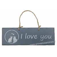 "Plaque en bois "" I Love You "" déco Chat sur fond Anthracite"