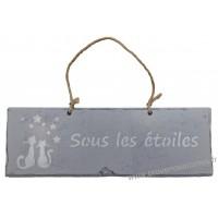 """Plaque en bois """" Sous les étoiles """" déco Chat sur fond gris clair"""