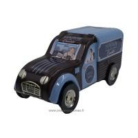 Tirelire fourgonnette 2CV Citroën Bleu/ Marron Maison de Qualité déco rétro vintage
