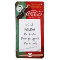 Bloc-notes métal aimanté Coca Cola rétro vintage collection