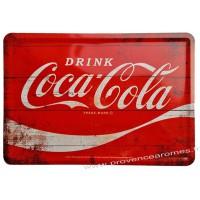 Plaque métal Coca Cola rouge carte postale rétro vintage collection