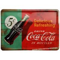 Plaque métal Coca Cola bouteille carte postale rétro vintage collection