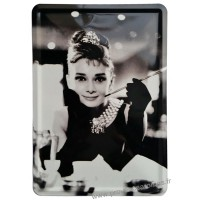 Plaque métal Audrey Hepburn carte postale rétro vintage collection