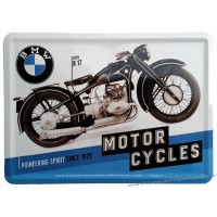 Plaque métal BMW Motor Cycles carte postale rétro vintage collection