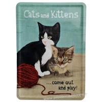 Plaque métal Cats and Kittens carte postale rétro vintage collection