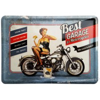 Plaque métal Pin-up Best Garage for Motocycles carte postale rétro vintage collection
