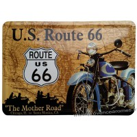 Plaque métal Route 66 The mother Road moto carte postale rétro vintage collection