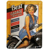 plaque métal Pin-up Best garage for motocycles 20 x15 cm déco rétro vintage