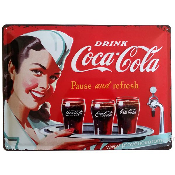 plaque m tal coca cola pin up serveuse 40 x 30 cm d co r tro vintage provence ar mes tendance sud. Black Bedroom Furniture Sets. Home Design Ideas