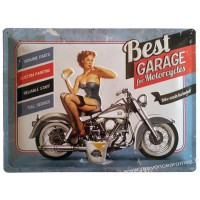 Plaque métal Best Garage for motocycles pin-up 40 x 30 cm déco rétro vintage
