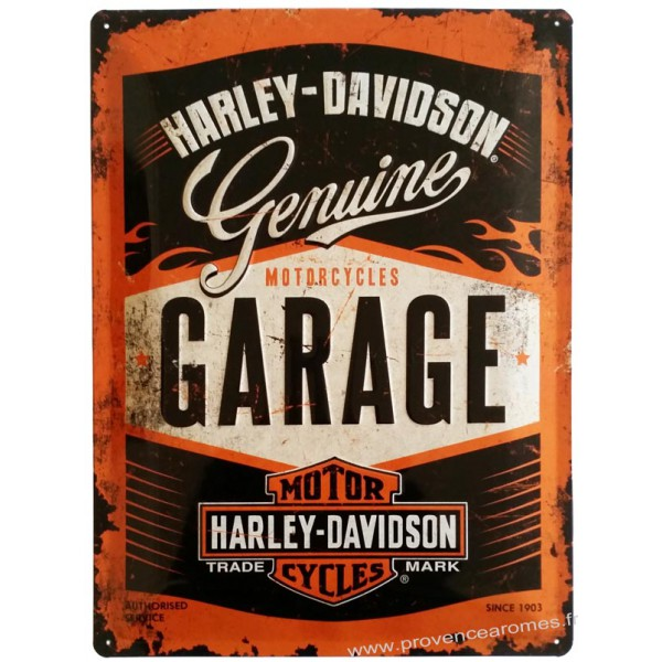 plaque m tal harley davidson genuine garage 40 x 30 cm. Black Bedroom Furniture Sets. Home Design Ideas