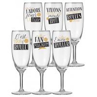 Coffret de 6 flûtes à Champagne Natives déco rétro vintage
