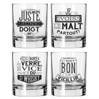 Coffret de 4 verres à WHISKY Natives déco rétro vintage