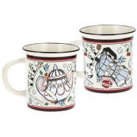2 mugs façon émail FOR EVER Natives déco rétro vintage