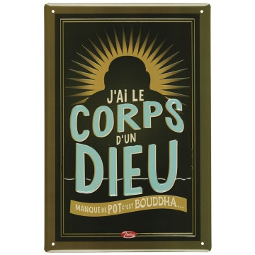Plaque métal CORPS D'UN DIEU Natives déco rétro vintage