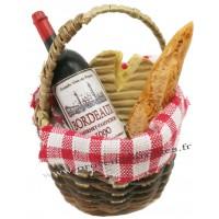 Magnet PANIER tissus vichy PIQUE-NIQUE garni, Vin, Camembert, baguette PLAISIRS DE FRANCE