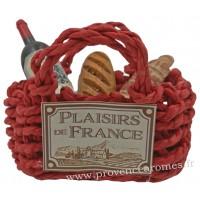 Magnet PANIER cabas rouge Garni Vin, pain, saucisson PLAISIRS DE FRANCE