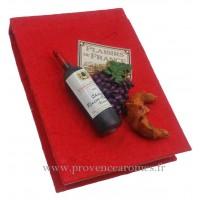 Magnet CARNET ROUGE Vin, Raisin, Croissant PLAISIRS DE FRANCE